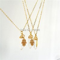 SN-025 Healing Clear Crystal Hexagonal Necklace With Hamsa Hand Pendant Necklaces