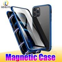 Para iPhone 13 12 Pro Max 11 8 Plus Samsung S21 Casos magnéticos com moldura de metal de alumínio Ímã de vidro duplo caso de adsorção Izeso
