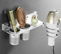 Porte-serviettes Espace Alliage d'aluminium Salle de bain Sèche-cheveux Support Mural Multi Function Rack Peign Entreposition Organisateur Sèche-cheveux B516