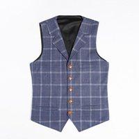 Men's Vests Plaid For Men Casual Singal-breasted Lapel Collar Gentleman Slim Fit Jacket Waistcoat Wedding Groom Costumes