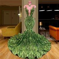 Sequins Hunter Green Evening Dresses Mermaid Custom Made Lace Applique Dubai Vestido De Gala 2021 Turkish Trumpet Prom Dress For Saudi Arabia