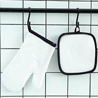 تسامي الفرن قفاز مجموعة قماش ميكروويف أبيض فارغة diy مطبخ أداة مكافحة تحرق العزل الحراري ترنر الطباعة JJA105
