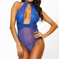 Bras Sexy Lingerie Bodysuit Women Bra Set Lace Deep V Erotic Underwear One Piece Halter Open