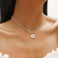 Korean Elegant Small Daisy Flower Pendant Necklace For Women Bohemian White Imitation Pearl Sunflower Choker Necklaces Jewelry