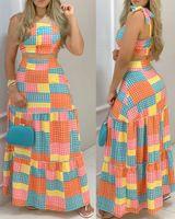 Летние женщины 2 шт. Урожай вершина Maxi юбка набор 2021 Новый сексуальный плед Femme Colorblock Cated Top Top Красочные Печатные костюмы