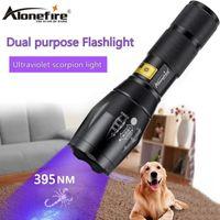 AloneFire G700 395nm UV LED Torcia Ultraviolet Light Marker Checker Money Cat Dog Pet Orine Detection 18650 BATTERY Torce Torce