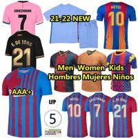 Barcelona Jersey Jersey Messi Barca FC 20 21 21 22 Ansu Fati 2021 2022 Griezmann F.De Jong Countinho Deste Sergio Homens Mulheres + Crianças Jerseys Away Terceiro e Fourth Football Shirt