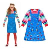 Kids Halloween Child's Play Chucky Cosplay Costume Boys Girls Cartoon Horror Ghost Doll 3D Printed Long Sleeve Jumpsuits Dress H0910