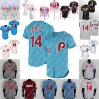 14 Pete Rose Jersey Beyzbol Salonu Şöhret Formaları 1980 1984 1965 1969 Beyaz Gri Açık Mavi Kırmızı Siyah