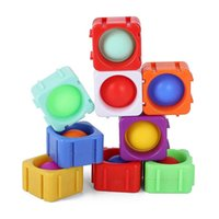 Individual Single Push Pop Bubble Popper Building Blocks DIY Spinners Toys Spinner Bearing Finger Puzzle Stress Relief Baby Kids Early Leaning Education G72U218