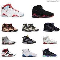 (Kutu) Klasik Yüksek Kalite Jumpman 7 7 S OG Basketbol Ayakkabıları 3 3 S Beyaz Kırmızı Siyah Altın Sneakers