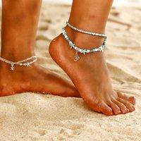 Fashion Double Layer Conch Starfish Wave Riso Bead Yoga Beach Beach Turtle Pendant Anklet Braccialetto Braccialetto