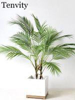 Flores decorativas guirnaldas de plástico artificial hoja hoja hoja verde desierto decoración de verano tropical fake planta jardín casa selva fiesta