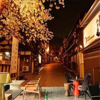 Vue de la nuit japonaise Cerisier Blossom Street Po Fonds d'écran 3D Cuisine Sushi Restaurant Decor Papier Papel de Parede 3D