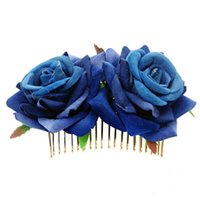 Hair Clips & Barrettes Wedding Jewelry Bridal Headwear Double Flannel Rose Comb Women Ladies Red Flower Accessories Hairpins