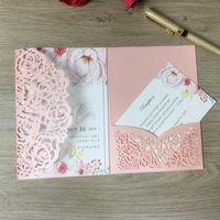 100 pcs invitation coupée au laser pour mariage d'anniversaire de mariage business blanc papier argent Merci cartes avec poche personnalisée