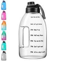 1 جالون سعة كبيرة التدرج زجاجة ماء المياه ارتفاع درجة الحرارة مانعة للتسرب الوقت ماركر الرياضة في الهواء الطلق طالب رياضة التدريب التخييم تشغيل البلاستيك