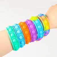 Bracelets 어린이를위한 Bracelet Fidget 장난감 팩 미니 간단한 딤플 숫자 푸시 거품 터지는 실리콘 손목 밴드 소년과 소녀 감각 감압 장난감