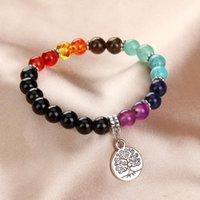 Beaded, Strands Vintang 7 Chakra Tree Of Life Natural Stone Mala Pendant Designer Inspired Charms For Bracelet Making Kid Girl