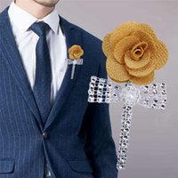 Men's Corsage Rhinestone Pearl Light Gold Groom Suit Pin Business Party Knot Wedding Dress Accessories XH054 Decorative Flowers & Wreaths