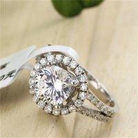 Yhamni خاتم مجوهرات الأزياء Have S925 Stamp Real 925 Sterling Silver Ring Set 2 Carat Cz Diamond Wedding Rings for Women 510 118 Q2