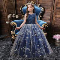 Girl's Dresses Kids Girls Lace Flower Party Sleeveless Prom Princess Wedding Children First Communion Formal Dress