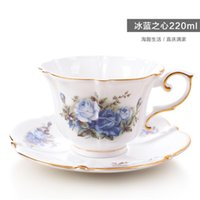 European Ceramic Tea Coffee Set English Luxury Royal Classic Bone China Cups And Saucer Sets Cup Rose HH50BD & Saucers
