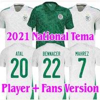 Versión de jugadores Versión Argelie 2021 Inicio Alew Fútbol Jerseys Mahrez Feghouli Bennacer Atal 20 21 Argelia Fútbol Kits Camisa Hombres + Niños Conjuntos Maillot de Pie