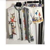 Conjuntos de dos piezas 2021 Cuello de soporte de otoño Camisas de manga larga de manga larga y marca MISMO ESTILO PORTE DE 2 PISTAS 0912-1