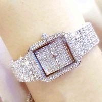 Designer Luxus Marke Uhren Diamant Quarz Frauen Silber Es Kristall Square Weibliche Handgelenk Strass Damenuhr Montre Femme