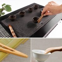 Teas Tools Bamboo Teaware Tea Clips Wood Toast Tong Wooden Toaster Bagel Bacon Squeezer Sugar Ice Teas Tongs 18CM ZC256