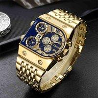 Nuovissimi orologi di quarzo di zecca OULM uomo militare impermeabile orologio da polso di lusso oro in acciaio inox orologio maschile Relogio Masculino 210329