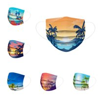 Adult Beach Print Disposable Mask Cartoon Pattern 3 Layer 95% Filtration Efficiency Dustproof Melt Blown Cloth Prevention of Influenza Activated Face Masks