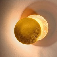 Wall Lamp Gold Foil Solar Eclipse Rotating Creative Moon Led Light Aisle Bedside Bedroom Decoration Mirror
