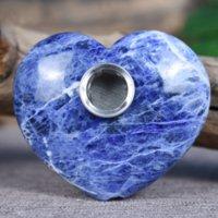 Natural azul grão pedra coração-dado forma de cristal pipe lidar com fabricantes de vendas diretas estrangeiras