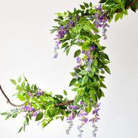 7ft 2M Blumenstring Künstliche Wisteria Rebe Girlande Pflanzen laub Outdoor Home nachlaufende Blume Gefälschte hängende Wanddekor RRD7005