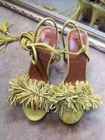 Yaz Seksi Yüksek Topuklu Kadın Sandalet Deri Çapraz Strappy Roma Tarzı Püskül Fringed Tıknaz Topuk Sandal Ayakkabı Mujer