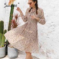 Simplee Elegante Frühling Sommer Blumendruck Midi Kleid Frauen Rüschen Sleeve Bogen Schärfige Plissee Kleid Chic High Taille Kleider Lose 201025