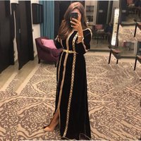 Black Moroccan Caftans Evening Dresses For Women Long Sleeve Embroidery Vintage Formal Party muslin Prom Gowns