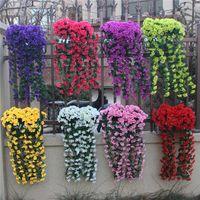 Decorative Flowers & Wreaths Vivid Artificial Hanging Orchid Bunch Silk Long Bush String Wedding Home Party Decor Decoration Accessories