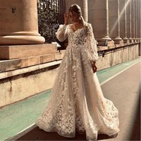 Summer 2021 Sheer Neck A Line Boho Wedding Gowns With Long Sleeves Sweep Train Full Lace Bohemian Beach Bridal Party Dresses