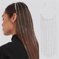 Full Rhinestone Long Tassel Crystal Headband Headpiece for Women Bijoux Hair Hoop Head Chain Accessories Wedding Hairband Party Jewelry Gift