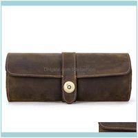 Pantalla de embalaje Tlotes de joyas de cuero genuino Roll Roll Travel Funda Vintage Cajas de caballos 652B Bolsas de joyería, Bolsas Drop Entrega 2021 x5