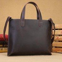 "Briefcases Men Quality Leather Antique Retro Business Briefcase 14"" Laptop Case Attache Portfolio Tote Shoulder Messenger Bag"