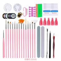 Nail Art Tool Set Kits Acrylic Poly Nails Gel Brushes Pen Dotting Painting Designer Stickers Accessories Supplies Manicure Sets