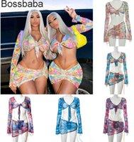 Women Summer Two Pieces Dress Flower Printed Navel Exposed Long Sleeve Irregular Drawstring Miniskirt Suit 8510