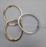 Brand Gold Bangle Titanium steel for men women carti bracelet Luxury charm bracelet rhinestone Wholesale Couple Jewelry silver screw 16-20