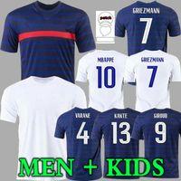 Homem + Kids 2021 Griezmann Mbappe Jersey Kante Pogba 20 21 Centenário Giroud Camiseta Maillot de Futebol França Zidane Matuidi Kimpembe Ndombele Thauvin 100th