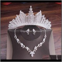 Wedding Drop Delivery 2021 Crystal Bridal Set Cubic Zircon Crown Tiara Earrings Choker Necklaces Weddings African Beads Jewelry Sets 210323 D
