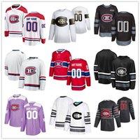 사용자 정의 이름 아이스 하키 몬트리올 Canadiens 골든 에디션 11 Brendan Gallagher Jersey 24 Phillip Danault 26 Jeff Pyry 14 Nick Suzuki Shirt Uniform